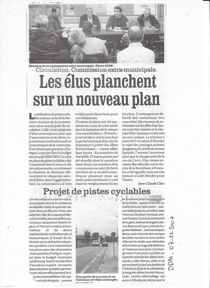 La Dépêche 7 novembre 2007-Les élus planchent sur un nouveau plan