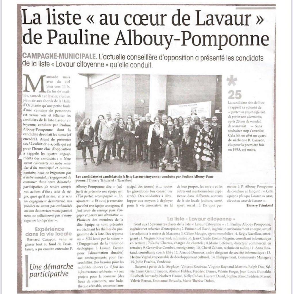 Le journal du Tarn La liste au coeur de Lavaur de Pauline Albouy Pomponne