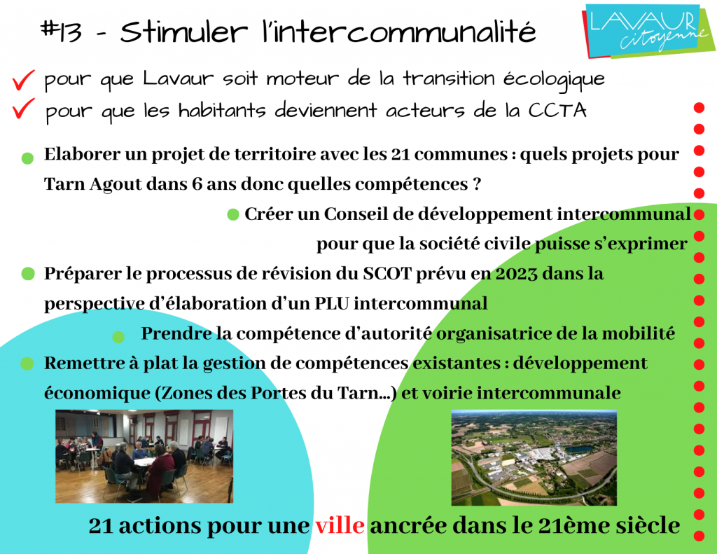 Action phare #13 Stimuler l'intercommunalité
