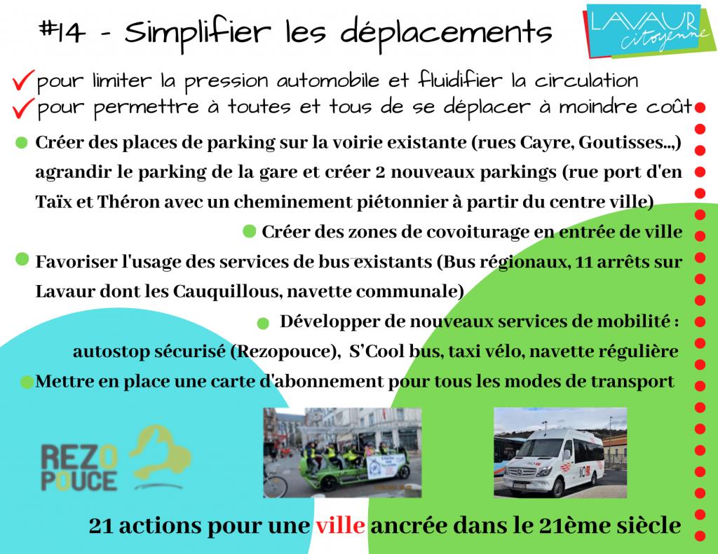 Action phare #14 Simplifier les déplacements