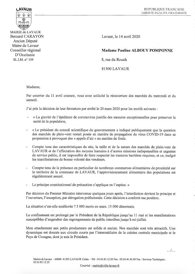 Réponse Maire de Lavaur - Page 1