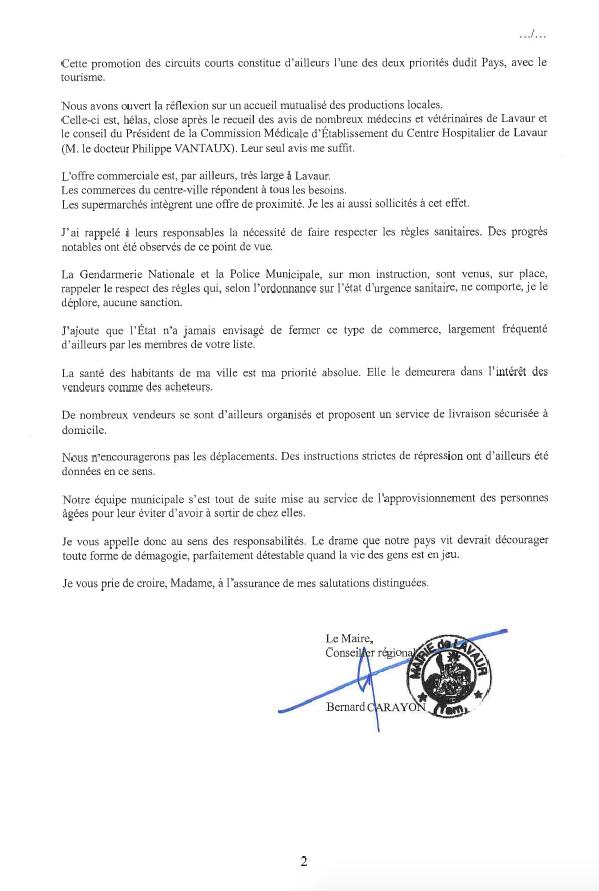 Réponse Maire de Lavaur - Page 2